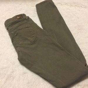 Paige Peg Skinny olive green jeans size 25